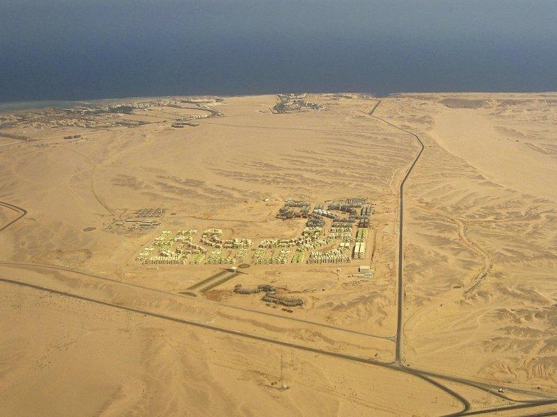 Вид из окна самолёта в Египте