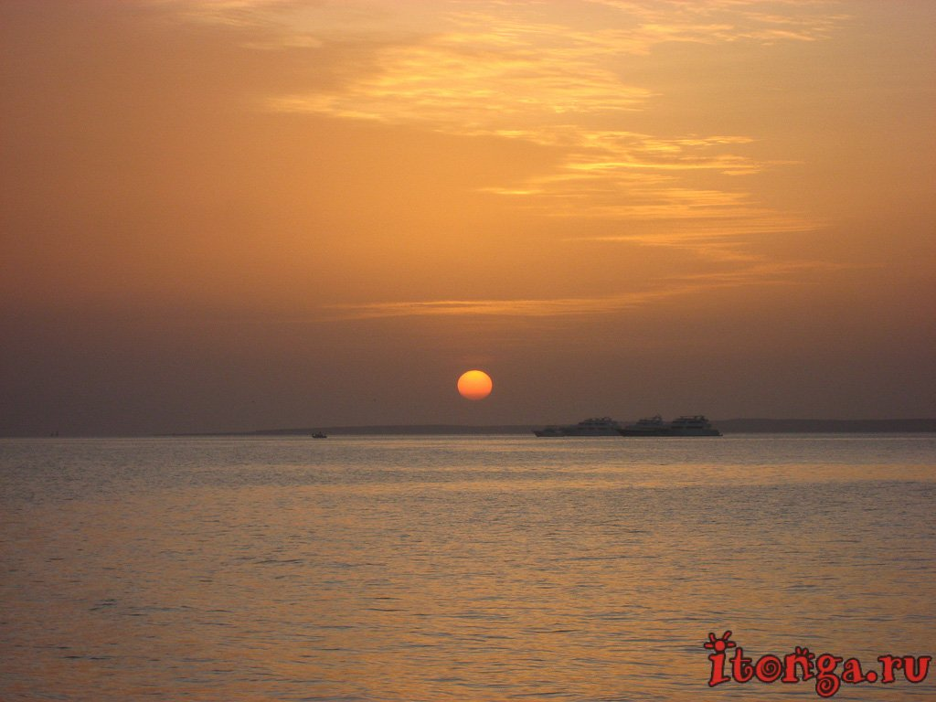 рассвет, море, Хургада, Египет