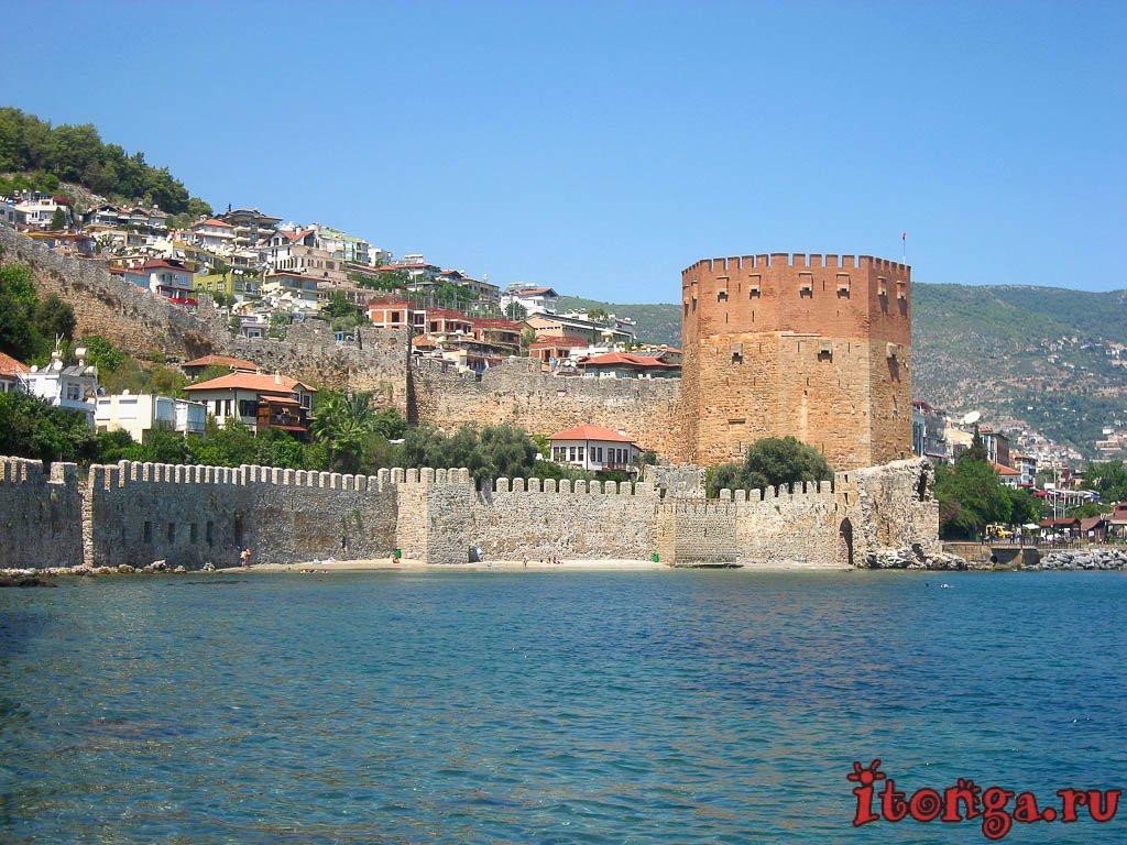 Аланья, Алания, Турция, Красная башня, башня Кызыл Куле, судоверфь Терсане,