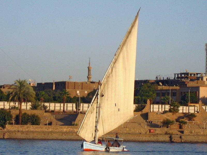 Нил, Луксор, фелюга, Египет
