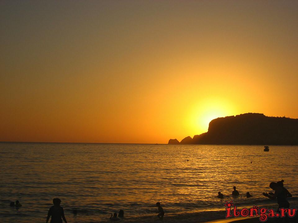 Турция, море, средиземное море, красивые места, Алания, Аланья, закат,