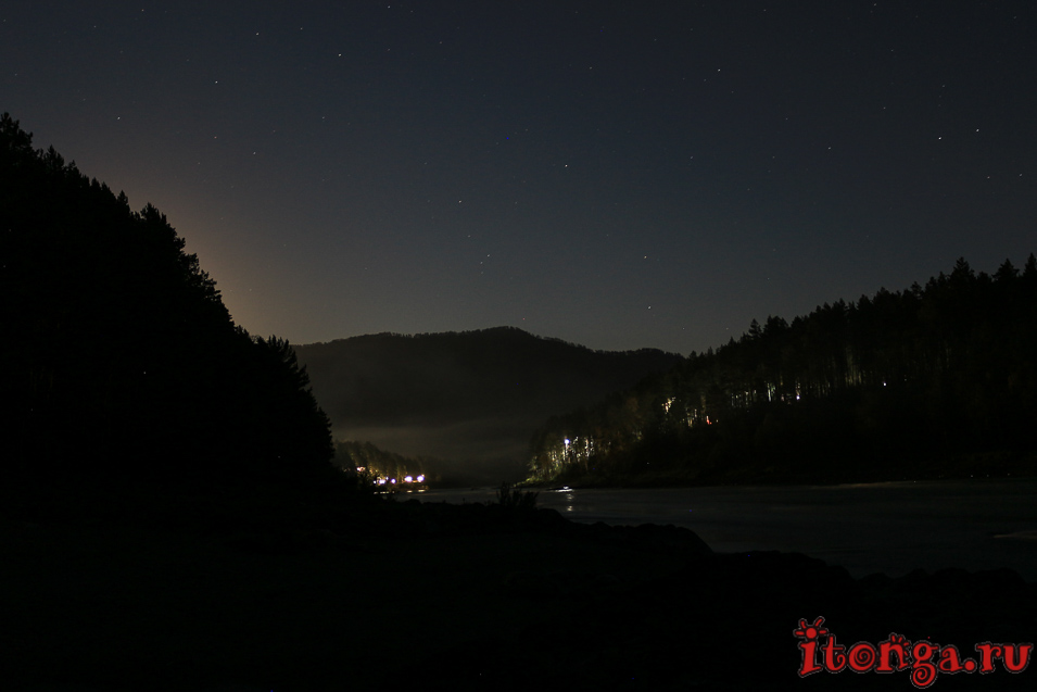 Горный Алтай, отель Бирюза, база отдыха, ночь,