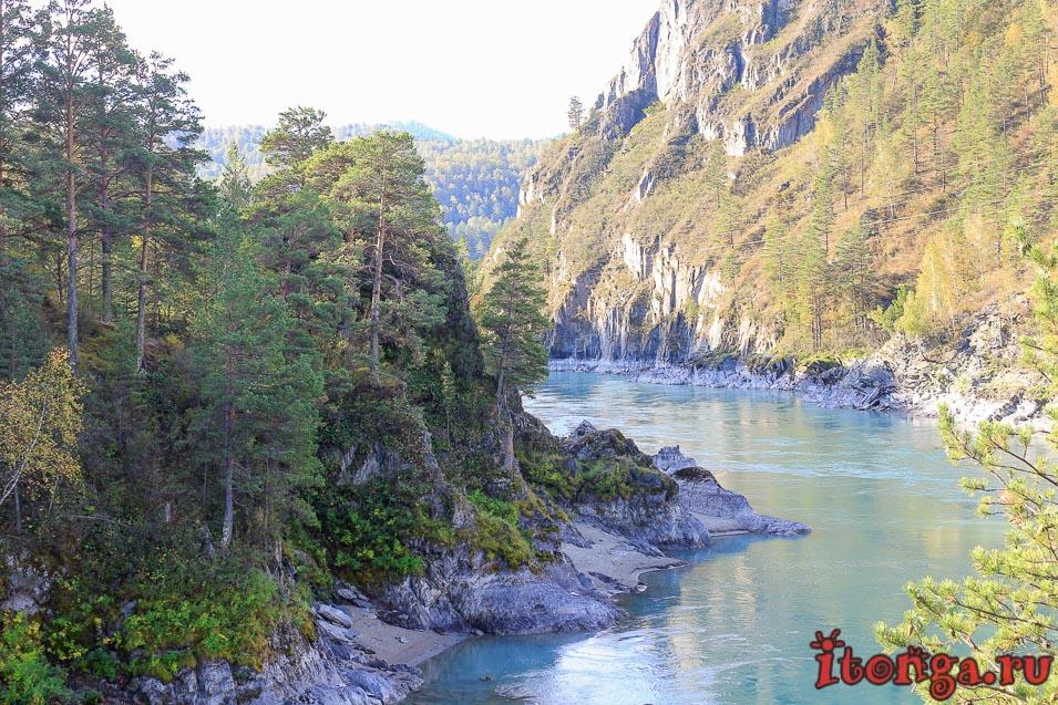река Катунь, бирюзовая Катунь, Горный Алтай, ворота Сартакпая,