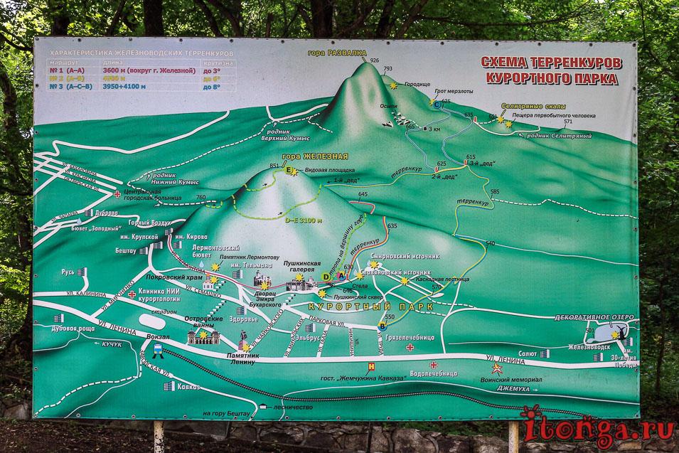 схема, терренкуры Железноводска, карта