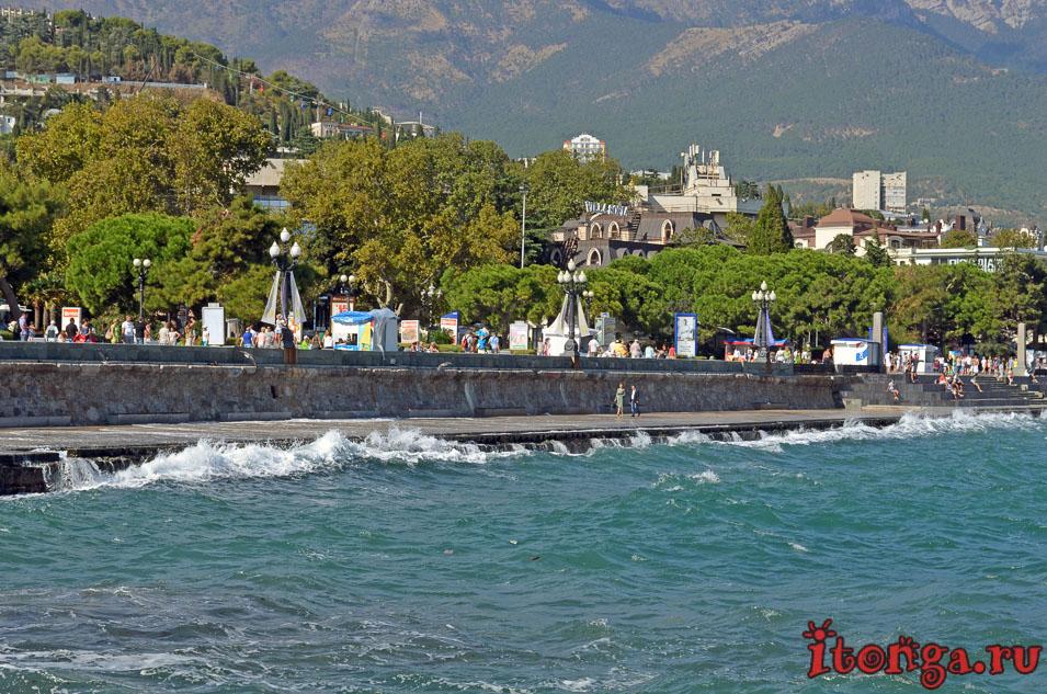 набережная ялты, черное море, достопримечательности ялты