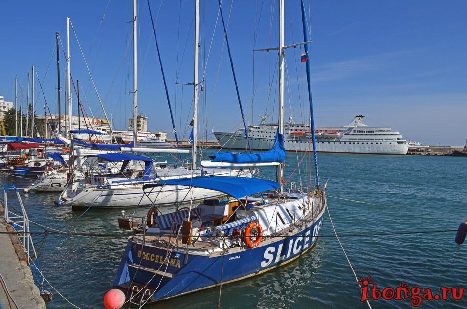 набережная ялты, пристань, порт, черное море, крым