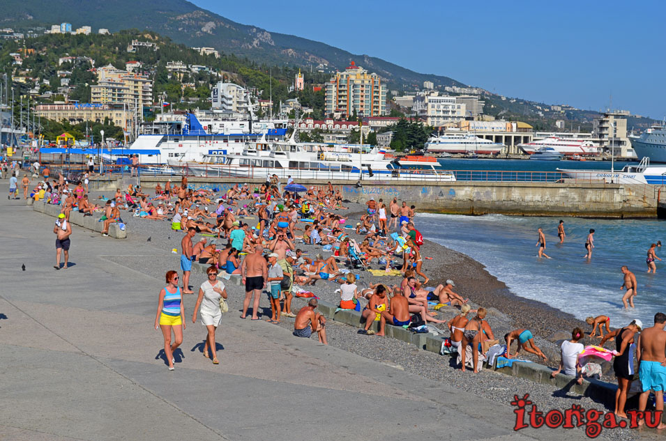 ялта, пляж, набережная, черное море