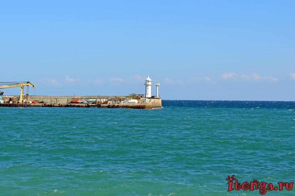 маяк, ялта набережная, крым, черное море