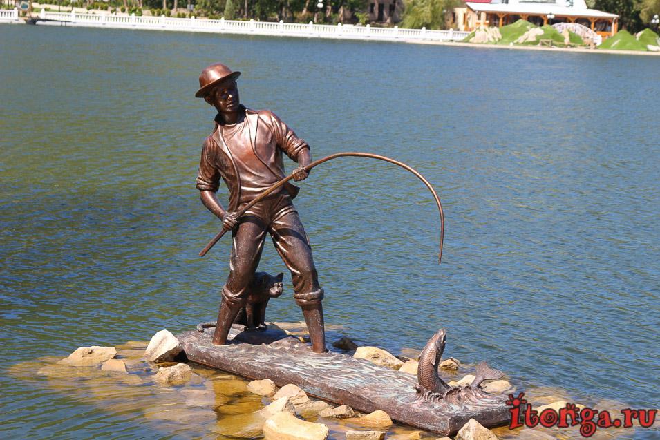 озеро в Железноводске, памятник рыбаку