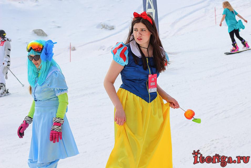 Grelka Fest, карнавальный спуск в Шерегеше, Белоснежка
