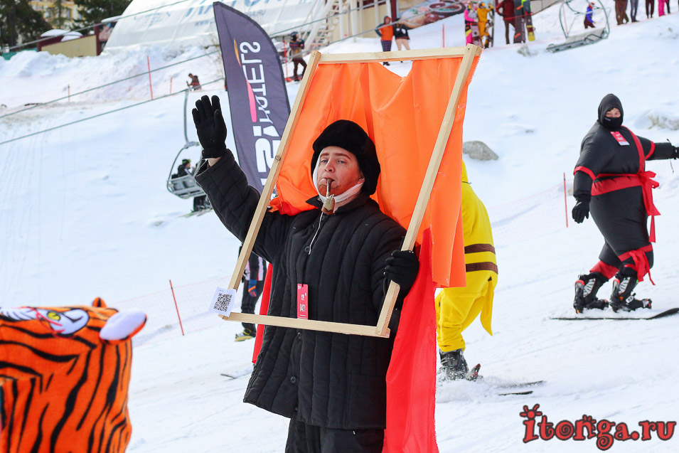 Грелка Фест, спуск в карнавальных костюмах в Шерегеше
