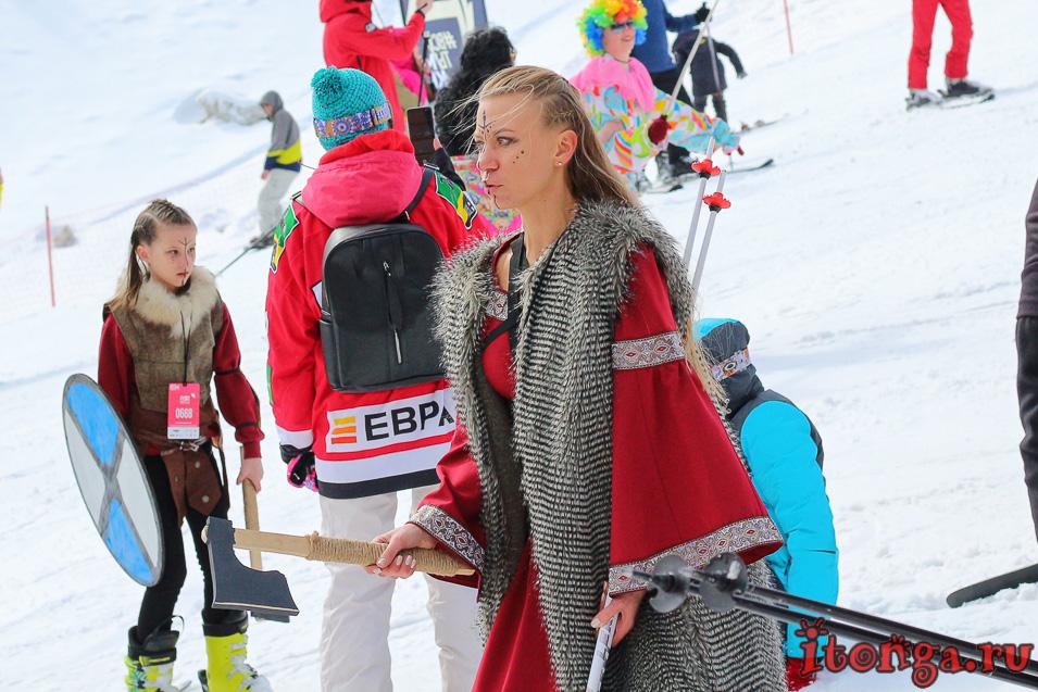Грелка Фест в Шерегеше, спуск в карнавальных костюмах, викинги