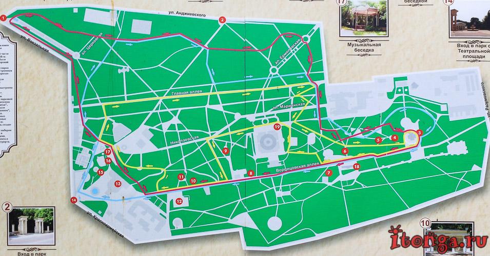 карта курортного парка в Ессентуках